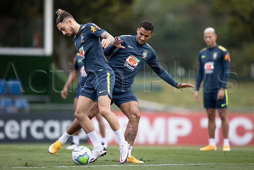 12th November 2020; Granja Comary, Teresopolis, Rio de Janeiro, Brazil; Qatar 2022 World Cup qualifiers; Alex Telles and Danilo of Brazil during training session
