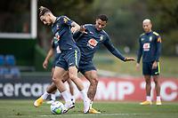 12th November 2020; Granja Comary, Teresopolis, Rio de Janeiro, Brazil; Qatar 2022 World Cup qualifiers; Alex Telles and Danilo of Brazil during training session