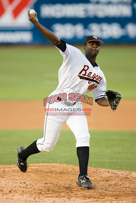 Relief pitcher Jason Burch (46) of the Bowie Baysox in action at Prince Georges Stadium in Bowie, MD, Tuesday June 17, 2008.