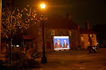BROOKLYN, NY — OCTOBER 12, 2020:  The final U.S. Presidential Debate between President Donald Trump and former Vice President Joe Biden is projected on The Old Stone House on October 22, 2020 in Brooklyn, NY.  Photograph by Michael Nagle