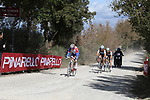 The breakaway Leo Vincent (FRA) Groupama-FDJ, Alexandre Geniez (FRA) AG2R La Mondiale and teammate Nico Denz (GER) and Diego Rosa (ITA) Team Sky on sector 3 Radi during Strade Bianche 2019 running 184km from Siena to Siena, held over the white gravel roads of Tuscany, Italy. 9th March 2019.<br /> Picture: Seamus Yore   Cyclefile<br /> <br /> <br /> All photos usage must carry mandatory copyright credit (© Cyclefile   Seamus Yore)