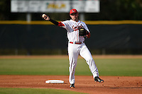 Ball State Cardinals second baseman Ryan Spaulding (5) during a game against the Maine Black Bears on March 3, 2015 at North Charlotte Regional Park in Port Charlotte, Florida.  Ball State defeated Maine 8-7.  (Mike Janes/Four Seam Images)