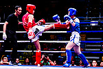 Tsang Ching Yee (Red) of Hong Kong fights against Tsai Yu Shiuan (Blue) of Taiwan in the female muay 54KG division weight bout during the East Asian Muaythai Championships 2017 at the Queen Elizabeth Stadium on 11 August 2017, in Hong Kong, China. Photo by Yu Chun Christopher Wong / Power Sport Images