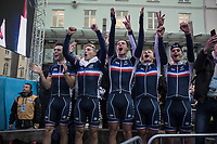 His teammates celebrate Benoit Cosnefroy's (FRA/AG2R-La Mondiale) gold medal/rainbow jersey by the side of the ceremony podium<br /> <br /> Men Under-23 Road Race<br /> <br /> UCI 2017 Road World Championships - Bergen/Norway