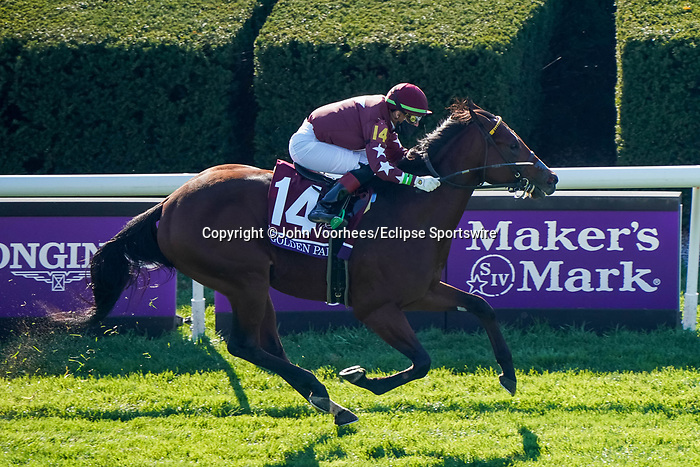 November 6, 2020: Golden Pal, ridden by Irad Ortiz, Jr., wins the Juvenile Turf Sprint on Breeders' Cup Championship Friday at Keeneland on November 6, 2020: in Lexington, Kentucky. John Voorhees/Eclipse Sportswire/Breeders Cup/CSM
