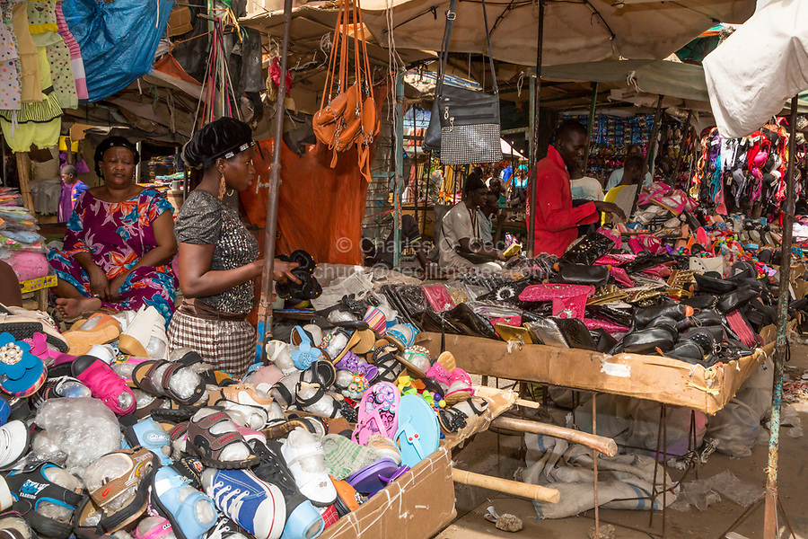 Senegal, Touba.  Shoes and Sandals for Sale in the Touba Market.