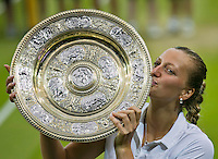 July 5, 2014, United Kingdom, London, Tennis, Wimbledon, AELTC, Ladie's Singles Final:  Eugenie Bouchard (CAN)  vs Petra Kvitova (CZE), Pictured: Pertra Kvitova  with the Wimbledon Trophy.<br /> Photo: Tennisimages/Henk Koster