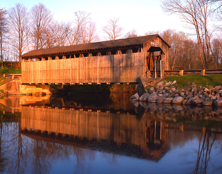 Sunset light on the covered bridge over the Flat River; Fallassburg County Park, MI