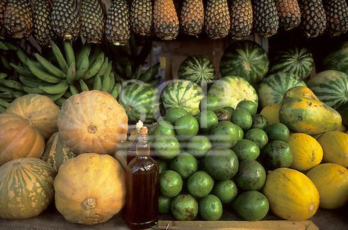 Amazon, Brazil. Variety of fruits on sale at a market stall: pineapple, melon, watermelon, banana, avocado; honey.
