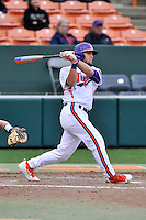 Left fielder Andrew Cox (6) of the Clemson University Tigers bats in a game against the Wofford College Terriers on Tuesday, March 1, 2016, at Doug Kingsmore Stadium in Clemson, South Carolina. Clemson won, 7-0. (Tom Priddy/Four Seam Images)