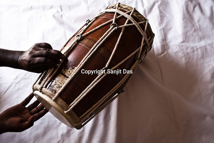Dholak, a local Manganiyar instrument is placed for a photo in Hamira village of Jaiselmer district in Rajasthan, India. Photo: Sanjit Das/Panos
