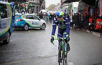 former winner Simon Gerrans (AUS/Orica-GreenEDGE) rolling out to the start<br /> <br /> 102nd Liège-Bastogne-Liège 2016