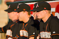 (L-R) Jake Smith #37, James Brandhorst #47, Ryan Berry #39 and Jesse Beal #23 of the Delmarva Shorebirds in the bullpen prior to the game against the Greensboro Grasshoppers at NewBridge Bank Park April 15, 2010, in Greensboro, North Carolina.  Photo by Brian Westerholt / Four Seam Images