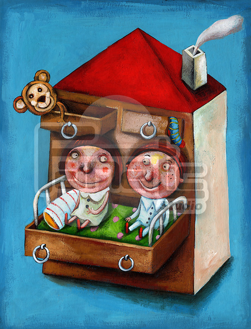 Illustration of brother and sister relaxing in bed at home