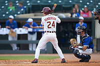 Matt Henderson (24) of the Florida State Seminoles at bat against the Duke Blue Devils in the first semifinal of the 2017 ACC Baseball Championship at Louisville Slugger Field on May 27, 2017 in Louisville, Kentucky. The Seminoles defeated the Blue Devils 5-1. (Brian Westerholt/Four Seam Images)
