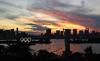 210721 -- TOKYO, July 21, 2021 -- Olympic Rings installed at Tokyo Bay is illuminated in Tokyo, Japan, July 21, 2021.  SPJAPAN-TOKYO-OLY-RINGS DingxXu PUBLICATIONxNOTxINxCHN <br /> Photo Imago / Insidefoto ITALY ONLY