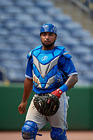 Toronto Blue Jays catcher Jesus Lopez (25) during an Instructional League game against the Philadelphia Phillies on September 23, 2019 at Spectrum Field in Clearwater, Florida.  (Mike Janes/Four Seam Images)