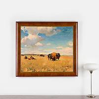 """Hoffman: Buffalo On The Plains, Digital Print, Image Dims. 30.5"""" x 35.25"""", Framed Dims. 37.25"""" x 42"""""""