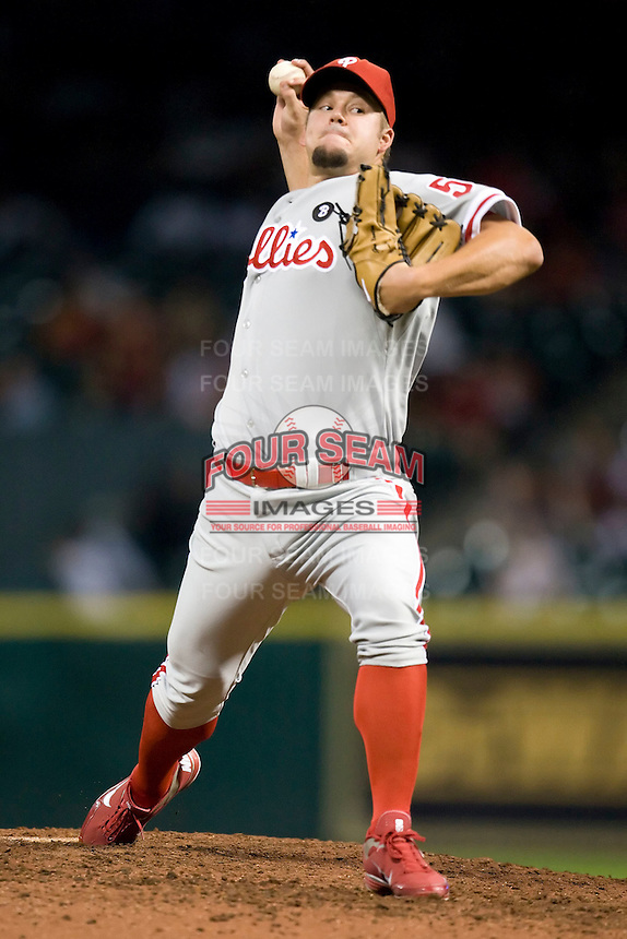 Philadelphia Phillies pitcher Joe Blanton #56 delivers a pitch during a Major League Baseball game against the Houston Astros at Minute Maid Park in Houston, Texas on September 12, 2011. Houston defeated Philadelphia 5-1.  (Andrew Woolley/Four Seam Images)