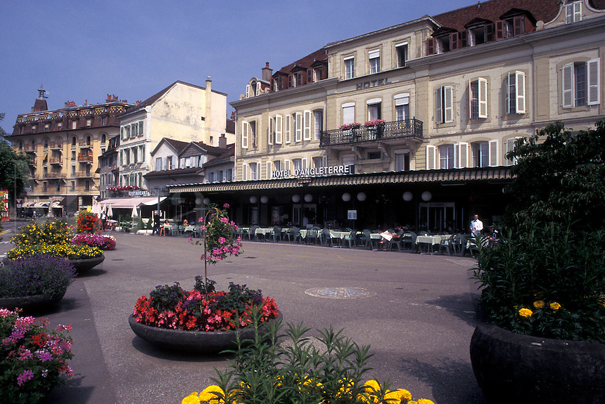 hotel, outdoor café, Switzerland, Lausanne, Ouchy, Vaud, Outdoor café at Hotel d' Angleterre.