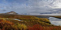 Campers along the Sheenjek River, near Kuirzinjik Lake (Lobo Lake)in Alaska's Arctic National Wildlife Refuge, are treated to a spectacular early morning in late August. STITCHED PANORAMA
