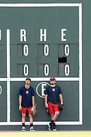 Shortstop Braden Shewmake (39), left, and catcher Shea Langeliers (4), the Atlanta Braves' two First-Round picks in the 2019 MLB Draft, now with the Rome Braves, stand by the scoreboard during batting practice on Thursday, June 27, 2019, at Fluor Field at the West End in Greenville, South Carolina. Rome won, 4-3. (Tom Priddy/Four Seam Images)