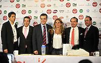 BOGOTA COLOMBIA-11-03-2014: David Osorio del IDRD; Jahn Fontalvo de Gran Slam Producciones; David Londoño de Claro; Arantxa Sanchez, tenista Española ex numero uno del mundo; Jose Maria del Castillo, Vicepresidente Comercial de Colsanitas y Juan Carlos Peña, Subdirector de Coldeportes durante la presentación de la Copa Claro Open Colsanitas de tenis, que se realizara en las canchas del Club Campestre El Rancho en la ciudad de Bogota del 5 al 13 de abril de 2014. David Osorio IDRD; Jahn Fontalvo, Grand Slam Productions, David Londoño of Claro; Arantxa Sanchez, Spanish former tennis world number one, Jose Maria del Castillo, Commercial Vice President of Colsanitas and Juan Carlos Peña, Deputy Director of Coldeportes during the presentation of the Copa Open Claro Colsanitas of Tennis Championships, to be held in the courts of the Club Campestre El Rancho in Bogota city, from 5 to April 13, 2014. (Photo: VizzorImage / Luis Ramirez / Staff.)