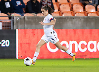HOUSTON, TX - JANUARY 28: Kelley O'Hara #5 of the United States dribbles during a game between Haiti and USWNT at BBVA Stadium on January 28, 2020 in Houston, Texas.