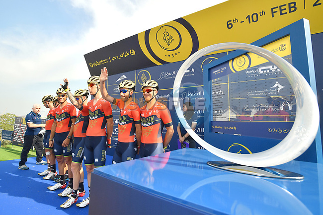 Bahrain-Merida team at sign on before the start of Stage 2 The  Ras Al Khaimah Stage of the Dubai Tour 2018 the Dubai Tour's 5th edition, running 190km from Skydive Dubai to Ras Al Khaimah, Dubai, United Arab Emirates. 7th February 2018.<br /> Picture: LaPresse/Massimo Paolone   Cyclefile<br /> <br /> <br /> All photos usage must carry mandatory copyright credit (© Cyclefile   LaPresse/Massimo Paolone)