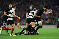 Ardie Savea of New Zealand is tackled by Kwagga Smith of Barbarians during the 125th Anniversary Match between Barbarians and New Zealand at Twickenham Stadium on Saturday 4th November 2017 (Photo by Rob Munro/Stewart Communications)
