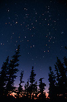 Stars appear in the evening sky above an alpine ridge in Washington's Olympic National Park.
