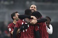 Zlatan Ibrahimovic of AC Milan celebrates with team mates after scoring to give the side a 4-2 lead during the Coppa Italia match at Giuseppe Meazza, Milan. Picture date: 28th January 2020. Picture credit should read: Jonathan Moscrop/Sportimage PUBLICATIONxNOTxINxUK SPI-0460-0034<br /> AC Milan - Torino Coppa Italia<br /> Photo Jonathan Moscrop/Sportimage/Imago/Insidefoto <br /> ITALY ONLY