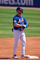 New York Mets Pete Alonso (20) on second base after hitting a double during a Major League Spring Training game against the St. Louis Cardinals on March 19, 2021 at Clover Park in St. Lucie, Florida.  (Mike Janes/Four Seam Images)