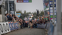 Jolien Verschueren (BEL/Telenet-Fidea) crossing the finish line victoriously on top of the infamous Koppenberg <br /> <br /> 25th Koppenbergcross 2016