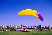 "Vancouver, BC, British Columbia, Canada - Man learning to paraglide at Vanier Park, City Skyline and Downtown ""West End"", Summer"
