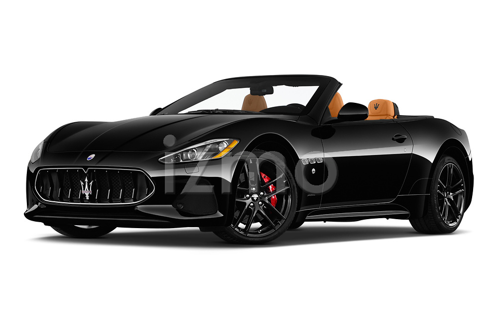 Stock pictures of low aggressive front three quarter view of 2018 Maserati Gran-Turismo Sport 2 Door Convertible Low Aggressive