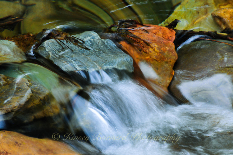 """""""PINKHAM IN SPRING""""<br /> <br /> Water rushing over colorful creek bed rocks and pebbles at Pinkham Creek Kootenai National Forest Montana creates a feeling of serenity. 24 x 36 signed, original, gallery wrapped wrapped canvas $2,500. Check for availability"""