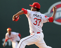 June 2, 2009: RHP Stolmy Pimentel (37) of the Greenville Drive  pitches in a game against the Asheville Tourists at Fluor Field at the West End in Greenville, S.C. Pimentel will start for the Drive Sept. 17, 2009, in Game 3 of the South Atlantic League Championship Series with his team down 0-2. Photo by: Tom Priddy/Four Seam Images