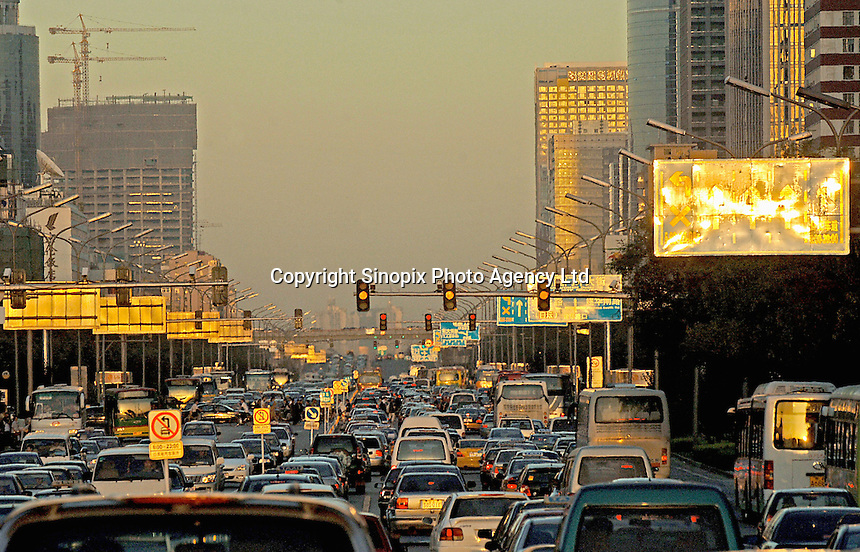 Traffic congestion in Beijing, China. China is facing an unprecedented problem with more and more cars cramming the streets of the nations major cities causing pollution and congestion problems..