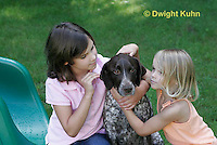 SH24-501z Children loving their German Shorthaired Pointer, PRA, Age 4 and 8