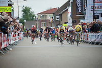 André Greipel (DEU/Lotto-Soudal) beats Moreno Hofland (NLD/LottoNL-Jumbo) by the smallest margin on the finish line to win stage 3 (Buchten-Buchten; 190km) of the<br /> 29th Ster ZLM Tour 2015