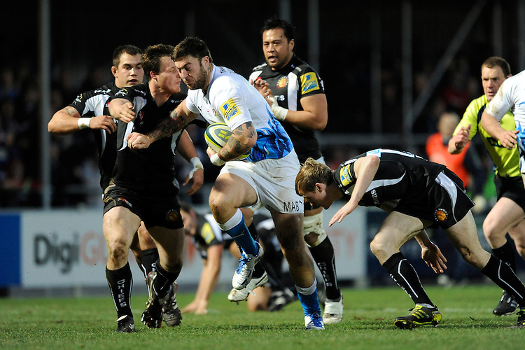 Matt Banahan of Bath Rugby drives upfield during the LV= Cup match between Exeter Chiefs and Bath Rugby at Sandy Park Stadium on Sunday 5th February 2012 (Photo by Rob Munro)