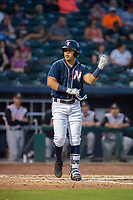 Northwest Arkansas Naturals infielder Angelo Castellano (16) walks to first after drawing a walk during a Texas League game between the Northwest Arkansas Naturals and the Arkansas Travelers on May 30, 2019 at Arvest Ballpark in Springdale, Arkansas. (Jason Ivester/Four Seam Images)