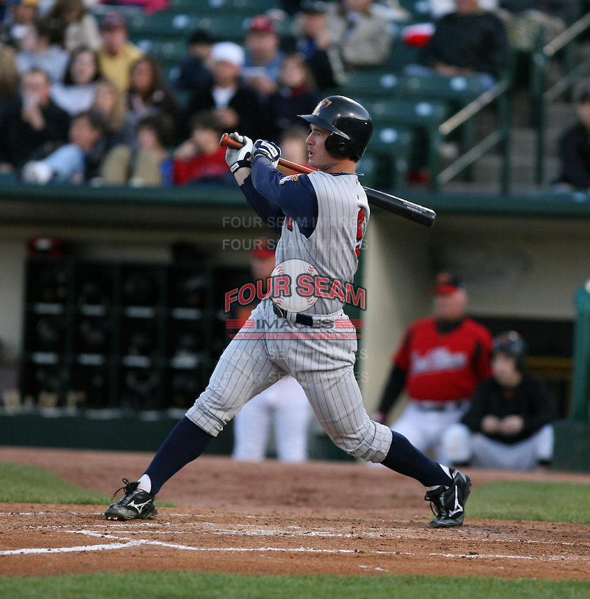 2007:  Jack Hannahan of the Toledo Mudhens follows through during an at bat vs. the Rochester Red Wings in International League baseball action.  Photo By Mike Janes/Four Seam Images