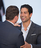 Channing Tatum greets Adam Rodriguez at The Magic Mike XXL European Film Premiere at Vue, Leicester Square, London, England on 28 June 2015. Photo by Andy Rowland.