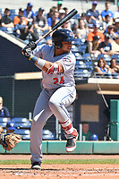 Jhoan Urena (24) of the Binghamton Rumble Ponies bats during a game against the Hartford Yard Goats at Dunkin Donuts Park on May 9, 2018 in Hartford, Connecticut.<br /> (Gregory Vasil/Four Seam Images)