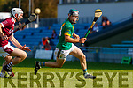 Maurice O'Connor, Kilmoyley in action against Tommy Barrett, Causeway during the Kerry County Senior Hurling Championship Final match between Kilmoyley and Causeway at Austin Stack Park in Tralee