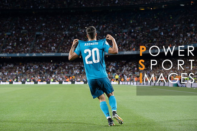 Marco Asensio Willemsen of Real Madrid celebrating his score during the Supercopa de Espana Final 1st Leg match between FC Barcelona and Real Madrid at Camp Nou on August 13, 2017 in Barcelona, Spain. Photo by Marcio Rodrigo Machado / Power Sport Images
