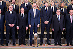 Real Madrid's coach Pablo Laso, president, Florentino Perez, King Felipe VI of Spain and Felipe Reyes receive in audience to the winner of basketball King's Cup 2017, Real Madrid at Zarzuela Palace in Madrid, Spain. March 06, 2017. (ALTERPHOTOS/BorjaB.Hojas)