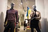 zeichen der Solidarität, Ukrainische Flagge im Schaufenster in Lemberg